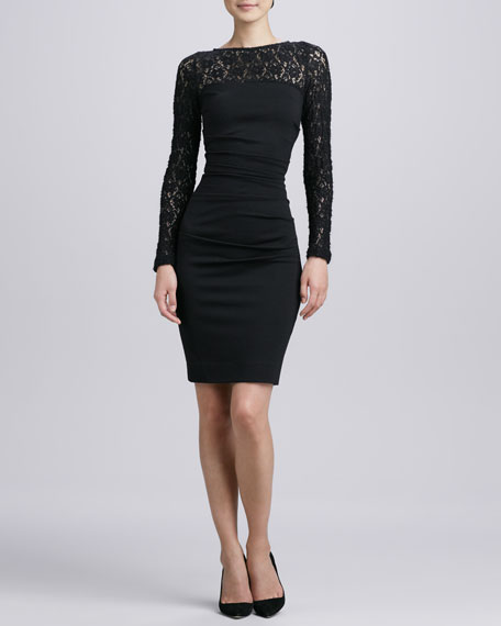 Long-Sleeve Textured Lace Cocktail Dress