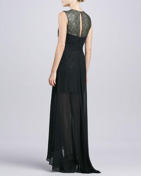 Sleeveless Chiffon High-Low Gown