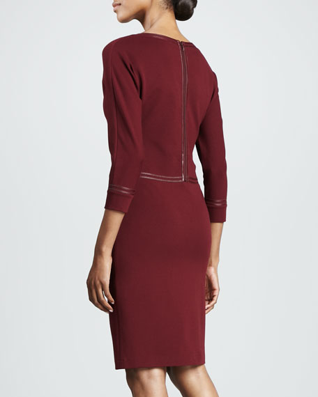 Three-Quarter-Sleeve Leather-Trim Dress