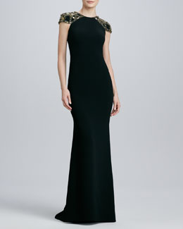 Badgley Mischka Jeweled Cap-Sleeve Jersey Gown
