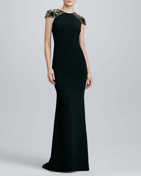 Jeweled Cap-Sleeve Jersey Gown
