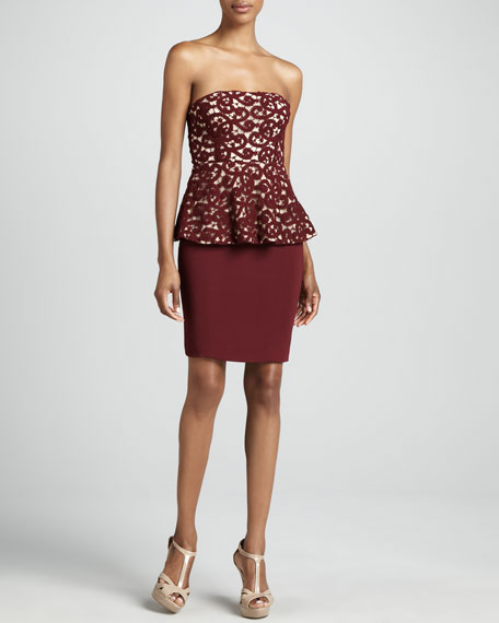 Strapless Lace Peplum Cocktail Dress
