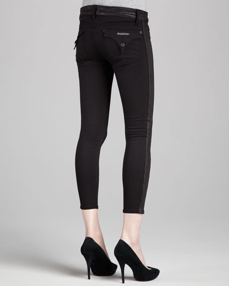 Leelou Leather-Side Skinny Pants