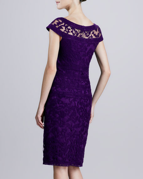 Boat-Neck Lace Cocktail Dress