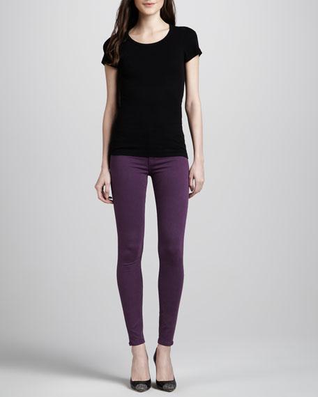 Nico Mid-Rise Skinny Jeans, Aubergine