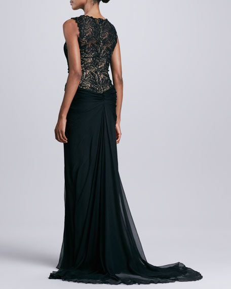 Sleeveless Gown with Sheer Lace at Neck & Waist