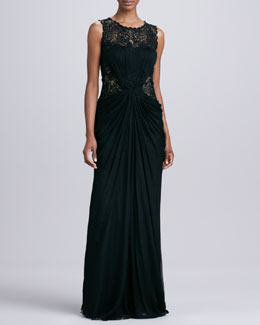 Tadashi Shoji Sleeveless Gown with Sheer Lace at Neck & Waist