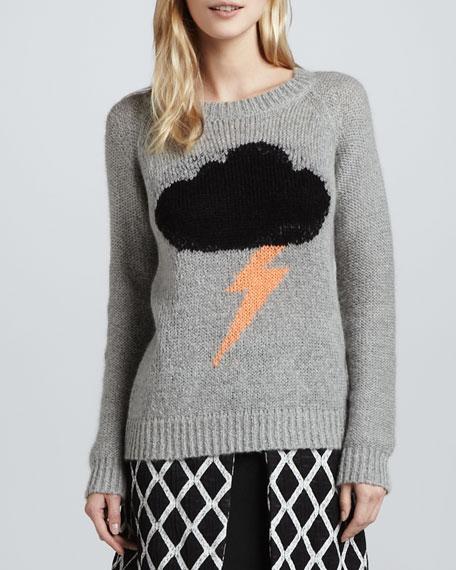Rain Cloud-Print Knit Sweater