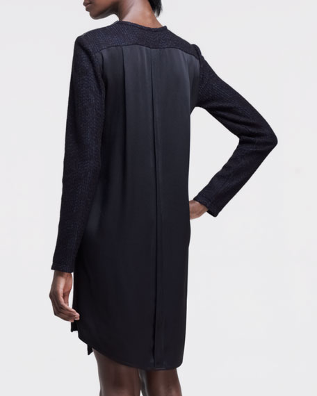 Long-Sleeve Silk-Back Tunic Dress