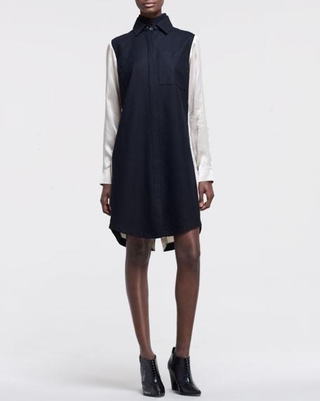 Charmeuse-Back Shirtdress
