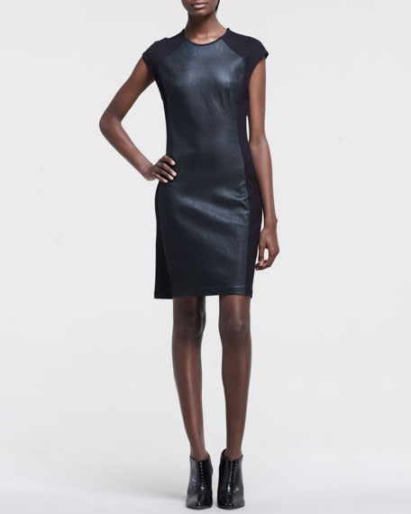Leather-Front Ponte Dress