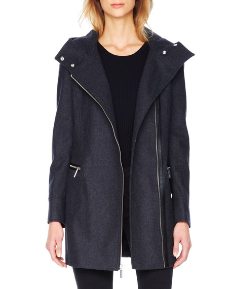 Faux-Leather-Trim Wool Coat