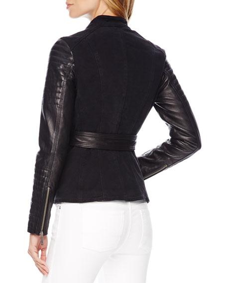 Leather-Sleeve Denim Jacket