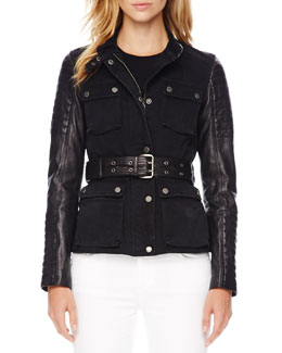 MICHAEL Michael Kors Leather-Sleeve Denim Jacket