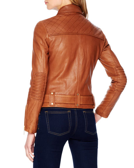 Belted Leather Moto Jacket