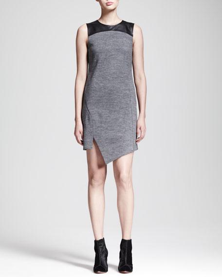Asymmetric Leather-Yoke Dress