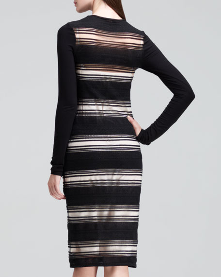 Long-Sleeve Sheer-Stripe Dress