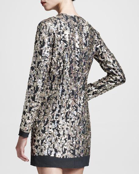Metallic-Embroidered Shift Dress