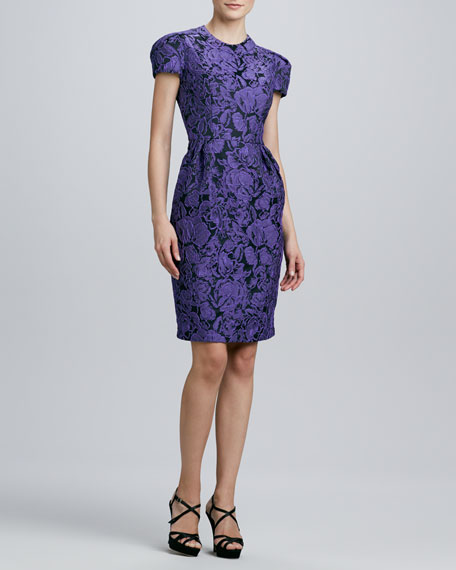 Jewel-Neck Cap-Sleeve Jacquard Dress