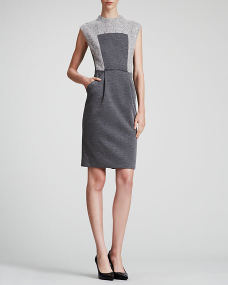 Boucle & Knit Sleeveless Dress
