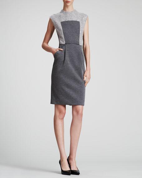Boucle & Knit Sleeveless Dress
