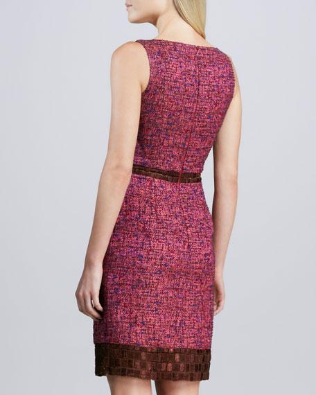 Sleeveless Bateau-Neck Tweed Dress