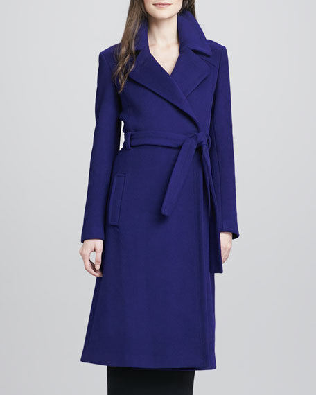 Michaele Belted Wool-Blend Long Coat