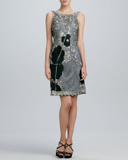 Sue Wong Embroidered Flower Cocktail Dress