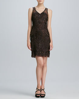 Sue Wong Sleeveless Embroidered Cocktail Dress