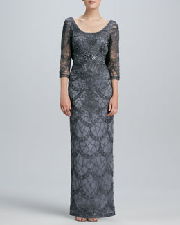 Sue Wong Lace Scoop-Back Gown