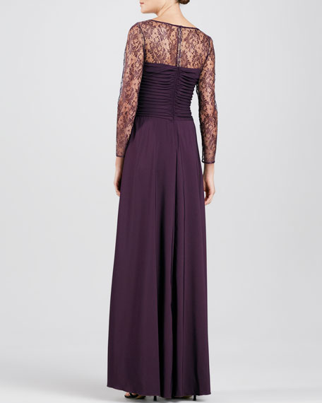 Lace-Overlay Tiered Gown
