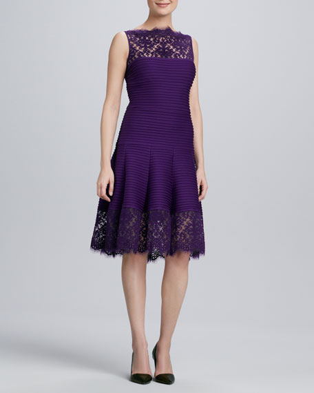 Illusion-Neck Lace-Trim Cocktail Dress