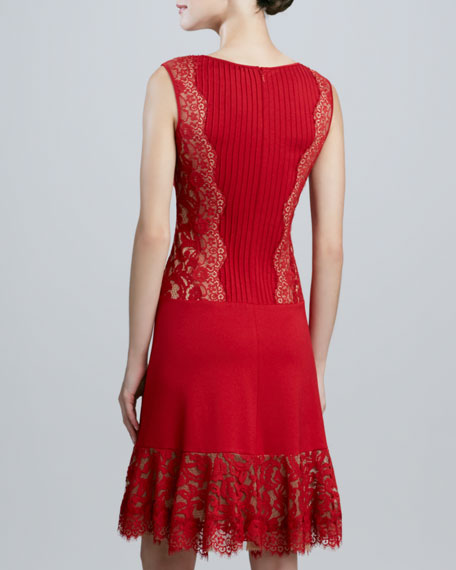 Sleeveless Cocktail Dress with Pintucked Bodice
