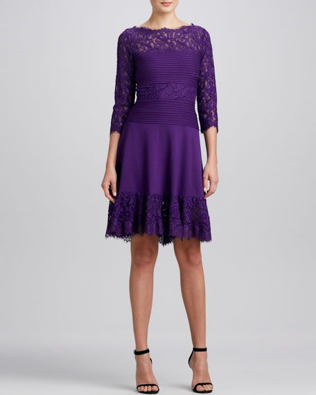 Lace Fit & Flare Cocktail Dress, Amethyst