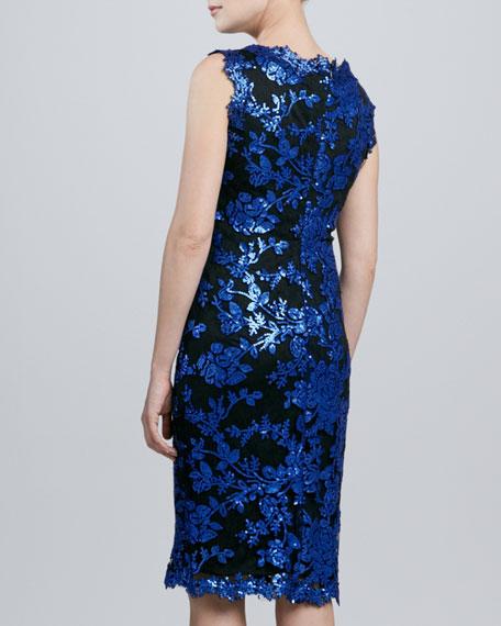 Sleeveless Metallic Lace Cocktail Dress