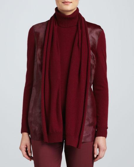 Fur-Front Cashmere Cardigan