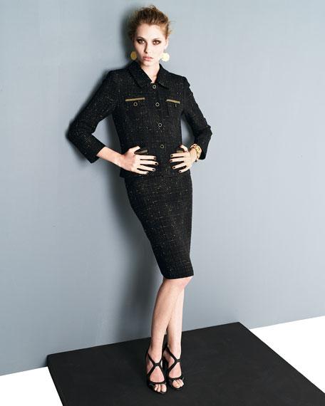 Tweed Skirt Suit, Black/Gold