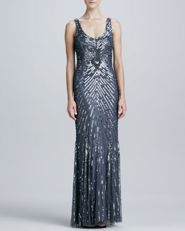 Aidan Mattox Chevron Sequined & Beaded Gown