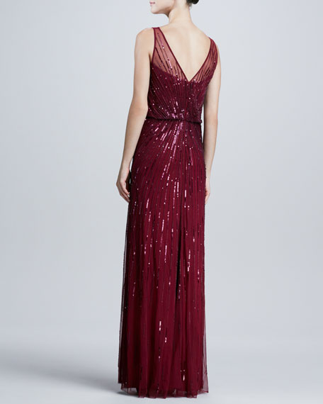Beaded Illusion Bateau-Neck Gown