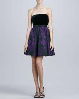 Aidan Mattox Strapless Printed Cocktail Dress