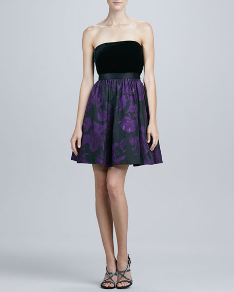 Strapless Printed Cocktail Dress