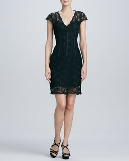 Aidan Mattox Lace Corset Cocktail Dress