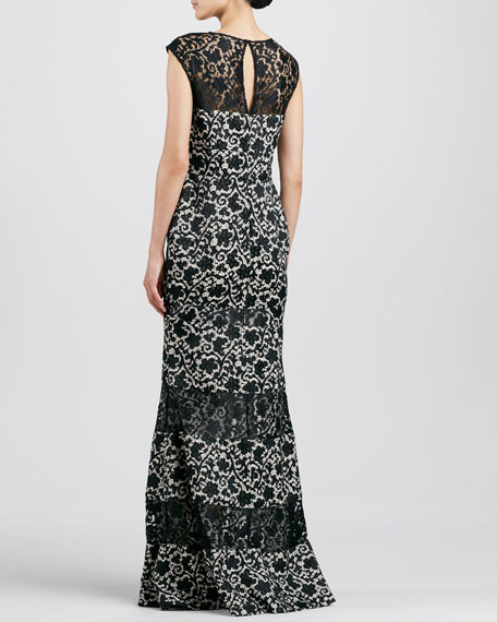 Floral Lace-Panel Flared Gown