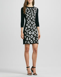 Phoebe Couture Animal-Print Raglan-Sleeve Knit Dress