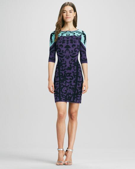 Printed 3/4-Sleeve Knit Dress
