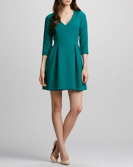 Three-Quarter Sleeve Crepe Dress