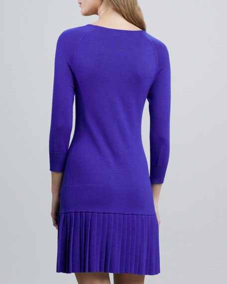 Pleated Drop-Waist Knit Dress