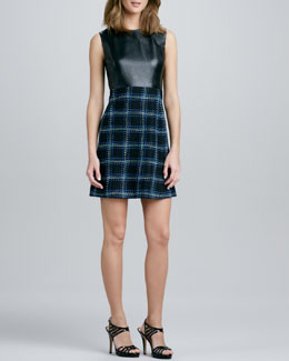 Shoshanna Leather-Bodice Tweed Dress