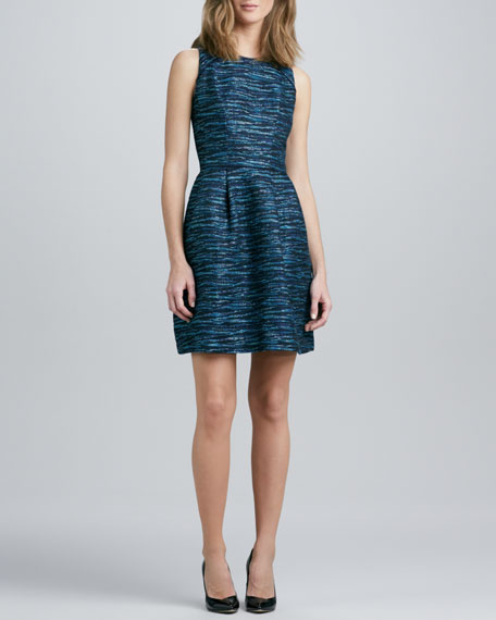 Jewel-Neck Sleeveless Jacquard Dress