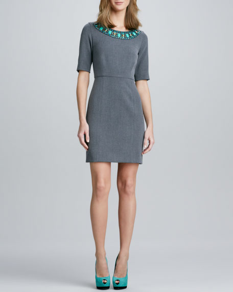 Jeweled-Neck Sheath Dress